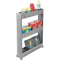 mDesign Carrito auxiliar para la colada – Versátil estantería con ruedas y 3 baldas, ideal como mueble para lavadero y otras zonas – Carro de transporte plástico para detergente, pinzas, etc. – gris