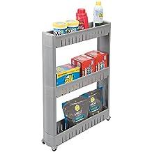 mDesign Carrito auxiliar para la colada – Versátil estantería con ruedas y 3 baldas, ideal