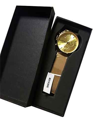 MEGIR Herren Analog Quarz Uhr mit Edelstahl Armband 2011