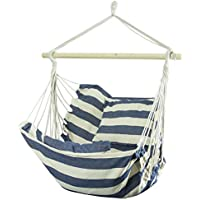 Woodside Swinging Garden Hammock Chair Outdoor Wooden Rope Swing Seat Blue/White