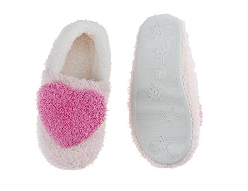 Damen Mädchen Weiche Plüsch Hausschuhe Pantoffeln Slippers mit mit Super Süße Herz Motiv für Winter Herbst Frühling (European size 36-37) Pink-B