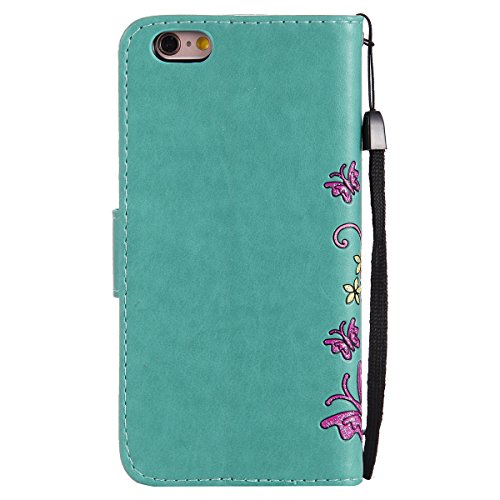 Custodia per Apple iPhone 6, ISAKEN iPhone 6S Flip Cover, 4.7 inch Custodia con Strap, Elegante Sbalzato Embossed Design in Pelle Sintetica Ecopelle PU Case Cover Protettiva Flip Portafoglio Case Cove Flowers: verde