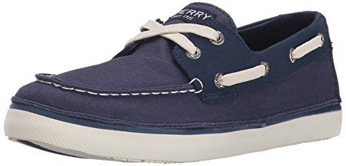 Sperry Cruz Boys Lace Up Deck / Boat Shoes-Navy-2.5