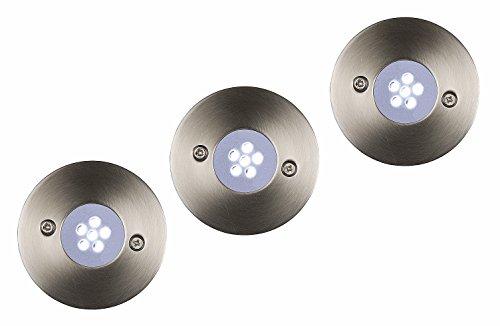 Lucide TRIO - Spot De Sol Exterieur Extérieur - Ø 6,5 cm - LED - 3x1,1W 5700K - IP67 - Chrome Dépoli - Ensemble de 3
