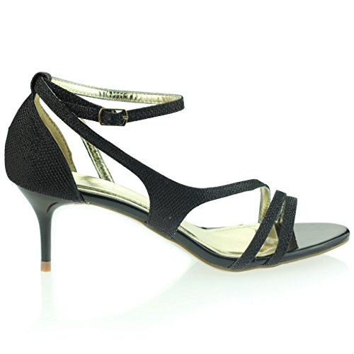 Femmes Dames Orteil Ouvert Sangle de Cheville Mince Talon Moyen Soir Fête Mariage Bal de Promo Sandales Chaussures Taille Noir