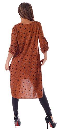 Damen Tunika Kleid Starprint mit stylischer Modeschmuckkette Einheitsgroesse 34 - 38 Rostbraun