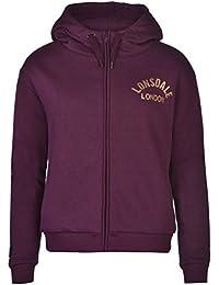 Lonsdale London Full Zip Sweat à capuche doublée pour femme Berry Sweat à capuche pour homme Top Vêtements de sport