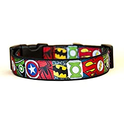 Superheros Batman Superman Spiderman Green Arrow Captain America Green Lantern Collar Perro Hecho a Mano Talla L sin Correa Dog Collar Handmade