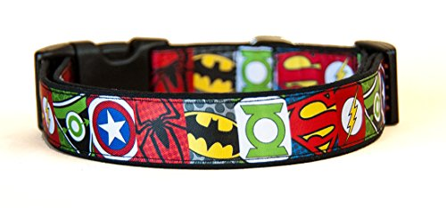 Superheros Batman Superman Spiderman Green Arrow Captain America Green Lantern Handgemachte Hundehalsband HandMade Dog Collar Größe L (Spider-man-hund-tag)