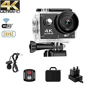 4152CYyUklL. SS300 NINE CUBE Action Camera 4K Ultra HD WiFi 20 MP, Fotocamera Subacquea Profonda 30M,grandangolare 170 °, 2.0''LCD, 2.4G Telecomando, Mic Esterno, EIS, 2 batterie Ricaricabili e Kit di Installazione