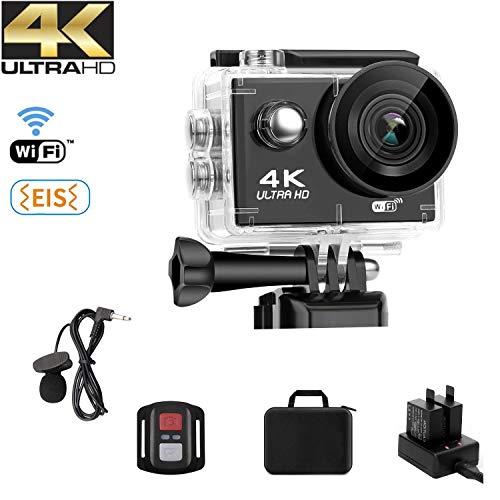 NINE CUBE Action Camera 4K Ultra HD WiFi 20 MP, Fotocamera Subacquea Profonda 30M,grandangolare 170 °, 2.0\'\'LCD, 2.4G Telecomando, Mic Esterno, EIS, 2 batterie Ricaricabili e Kit di Installazione