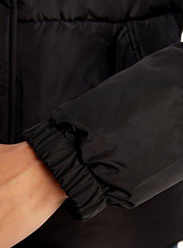 oodji Ultra Femme Blouson Fourré à Capuche avec Poches Noir (2900N)