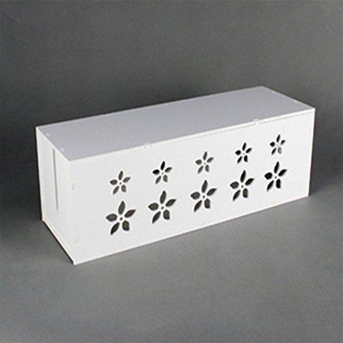 Sunfire - Boîte de rangement pour câbles électriques - en bois et plastique - blanc - 36 x 13 x 12 cm