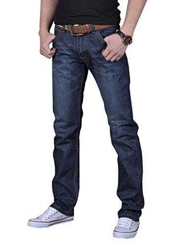 Menschwear Nuovo da uomo Denim Jeans Dark Wash gamba dritta regolare (34,)