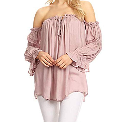 Vovotrade ✠ maglietta a maniche lunghe con spalle scoperte e tinta unita, t-shirt da donna con scollo a giro e maniche lunghe