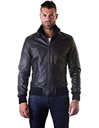 D'Arienzo - Bomber - Giacca in Pelle Nappa Nera Made in Italy