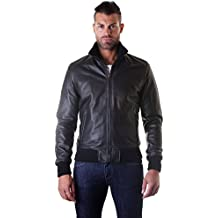 D Arienzo - Bomber - Giacca in Pelle Nappa Nera Made in Italy c14cb9a599af