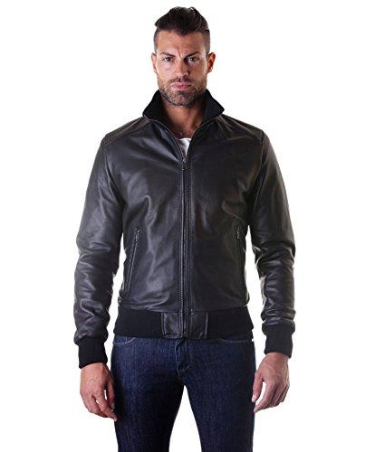 D'arienzo - bomber - giacca in pelle nappa nera - 52, nero