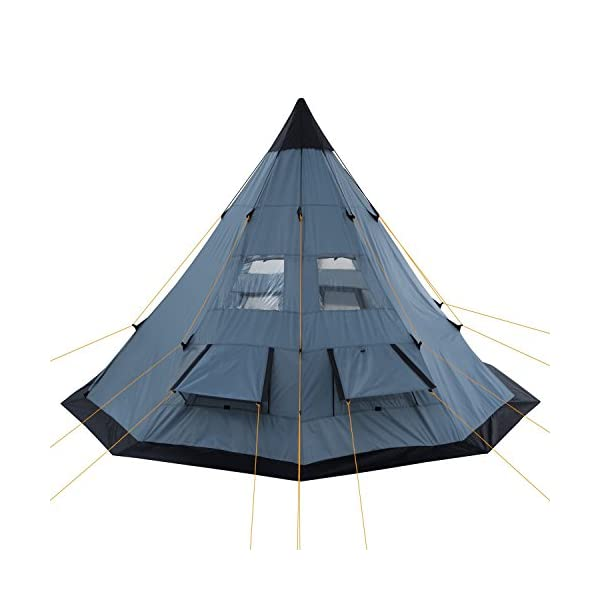 CampFeuer® - Tipi Teepee - Tent, grey/blue 4