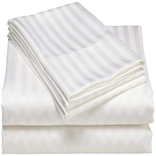 Suvinyas New Premium Hotels Qualität 600 TC Bettwäsche-Set, 4-teilig, 100% Bio-ägyptische Baumwolle, Weiß gestreift -