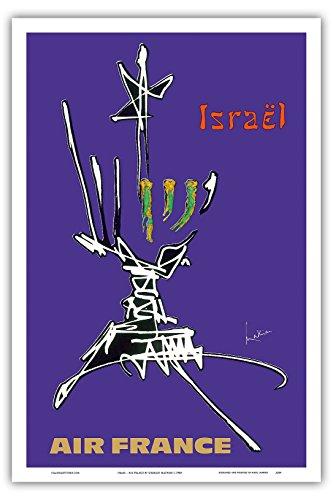 israel-air-france-vintage-airline-travel-poster-por-georges-mathieu-c1968-master-arte-impresion