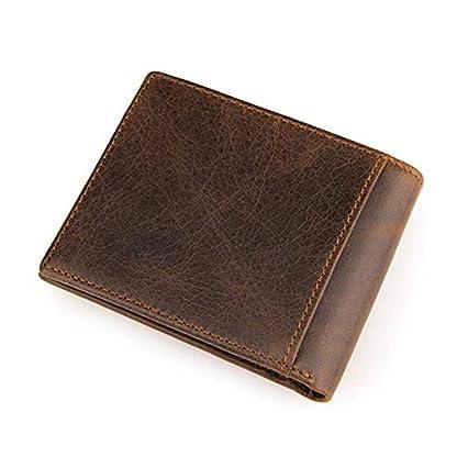 4152FgKpQRL. SS416  - TIDING Cartera de cuero de capa superior Monedero corto retro Cartera de negocios informal Monedero unisex