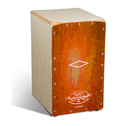 CAJON RUMBERO - Pepote (Jaleo) Colores (Tapa Naranja) (28,5 x 29 x 47 Cm.)