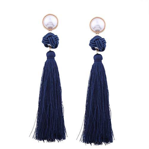 61e1eaa8f483 Fossrn Pendientes Mujer Largos Flecos Vintage Bohemio Weave Tassel  Pendientes de gota (F)