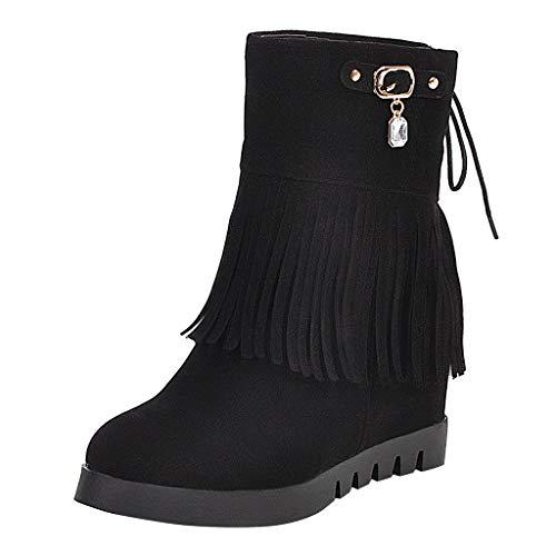 ➤Refill➤ Damen Stiefeletten Westernstiefel Veloursleder Niedrige Absätze Fransenstiefel Plateau Ankle Boots Knöchelstiefel Winter Schlupfstiefel Elegant Schuhe Schneestiefel