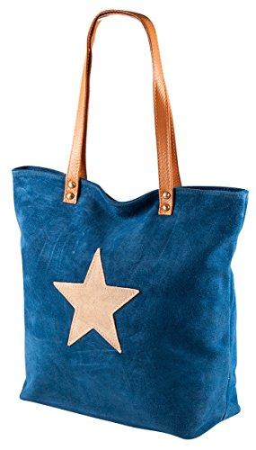 Pelle Italy Schultertasch Handtasche PI10074 Damen Tasche Stern 30x31x12 cm (BxHxT), Farbe:Blau Blau