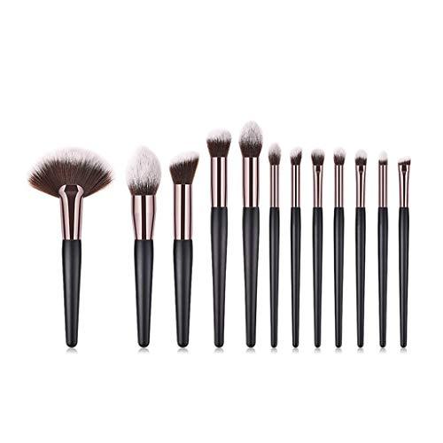 YHYS 12 pinceaux de Maquillage/Outils cosmétiques, Eye Set, Eye Shadow Brush, Manche en Bois - Tube à café - Large éventail - Brun
