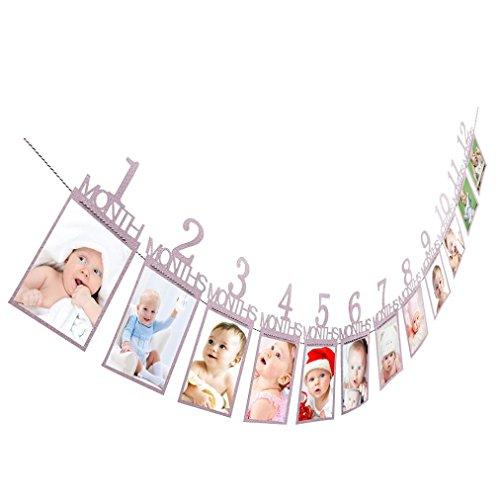 Neugeborenes bis 12 Monate Baby-Monatsfoto-Wand für 1. erste Geburtstags-Party-Dekoration, Foto-Fahnen-Baby-Wachstums-Rekord-Girlande 1-12 Mund-Foto-Seil-Fahne (Purple)