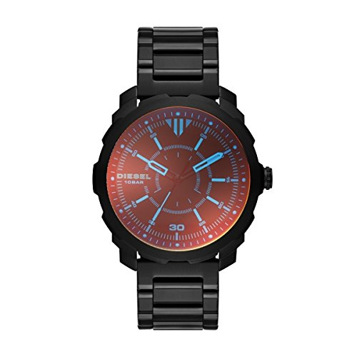 Diesel Men's Quartz Watch with Red Dial Analogue Display and Black Stainless Steel Bracelet DZ1737