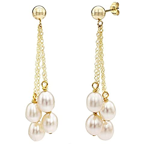 14K jaune Or 4rangées 6–6,5mm Blanc perle de culture de boucles d'oreilles à tige