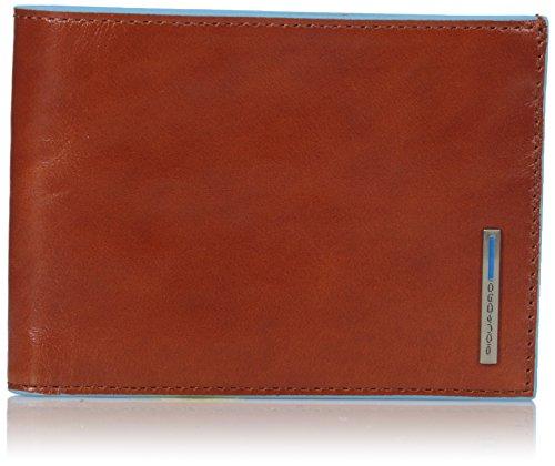 Piquadro Uomo Blue Square Portamonete, 12.6x9.2x1.7 cm, Arancio (Arancione)