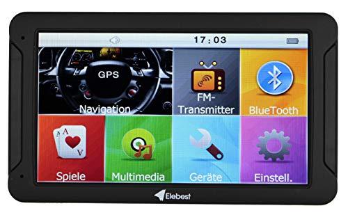 Elebest City 80 Navigationsgerät 32 GB Speicher 17,8cm 7 Zoll Display mit neusten Europa Karten und Radarwarner für PKW LKW Wohnmobil GPS Navigation Fahrspurassistent Kostenlose Kartenupdate