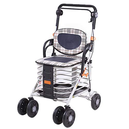 Einkaufstrolleys Beweglicher Einkaufswagen-faltender Wanderer-älterer Trolley-Roller-Wanderer-Rollstuhl Geben Den Älteren Personen EIN Vertrautes Geschenk-Einkaufswagen-Wagen Kann