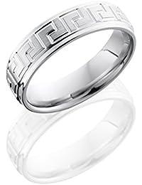 Cobalt Chrome, Greek Key Satin Polished Wedding Band (sz H to Z1)