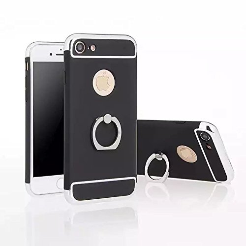 YHUISEN 3 in 1 Anti-Scratch Anti-Fingerprint-Stoß- galvanisieren Feld Rotating Ring-Halter Kippständer Feature Mit Anti-Rutsch-beschichtete Oberfläche PC Hard Case für IPhone 7 plus ( Color : Black ,  Black