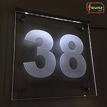 """'LED exterior Número de Casa Vía–cartel luminoso (Orientación """"38de direcciones color blanco opaco o personalizada/Esfera de selección de color de luz con conector de fuente Juego de montaje 230V© faunz"""