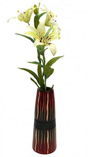 Leewadee, jarrón de mango de madera, decoración-jarrón 20 cm, diámetro 8 cm/apertura...