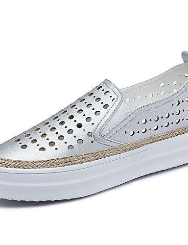 ZQ Damenschuhe - High Heels - B¨¹ro / Kleid / L?ssig / Sportlich / Party & Festivit?t - Kunststoff - Flacher Absatz - Creepers - Wei? / Silber white-us5 / eu35 / uk3 / cn34