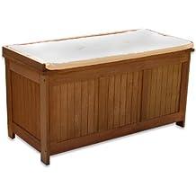 Stilista - Banco de jardín con compartimento interior (madera dura al aceite, tapa automática, con cojín, 113 x 52,5 x 60,5 cm)