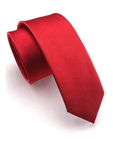Slim-krawatte (JEMYGINS Schmale Herren Krawatte einfarbig in verschiedenen Farben 6cm, Karminrot, Slim)