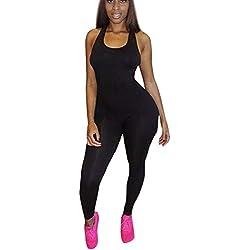 mono chandal mujer Sannysis yoga pantalón mujer runing una pieza (Negro, S)