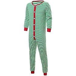 Bestow Traje de Padres Familia Servicio a Domicilio de Color a Rayas Navidad Pijamas Hombres Ropa de Dormir Ropa de Dormir Mono(Verde,L)