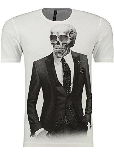 Verrückte Jungs T-shirt (BlackRock Herren T-Shirt Slim Fit Totenkopf Skull Bones Adler - 71313 - WHITE XL)