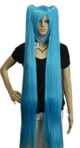 QIYUN.Z Haarteile Damen Perücken Vocaloid Hatsune Miku 2 Clip-On- Pferdeschwanz Lange Gerade Cosplay Anime Kostüm Kunsthaar Volle Perücke - Meer Blau