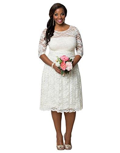 NUOJIA Lange ärmel Spitze Brautkleider Standesamt Kurze Hochzeitskleid Knielange Elfenbein 44
