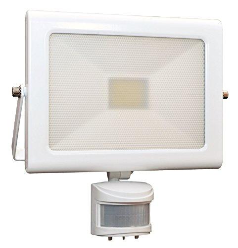 Tibelec 350410 Projecteur blanc LED extra plat avec détecteur de mouvement 32W 2060 lumens - non câblé garantie 5 ans, Aluminium, 32 W, 220x70x215mm